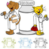 Pet Doctors with Medication — Stock Vector