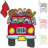 Road Trip Pickup Truck Family — Stock Vector