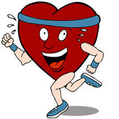 Heart Cartoon Character Runner — Stock Vector