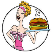 Old Fashioned Diner Waitress Serving Hamburger — Stock Vector