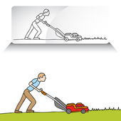 Man Mowing Lawn — Stock Vector