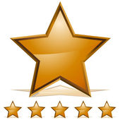Five Gold Stars Rating Icon — Stock Vector