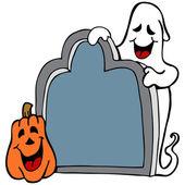 Tombstone Ghost Pumpkin — Stock Vector