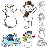 Jeu de bonhomme de neige dessin animé — Vecteur