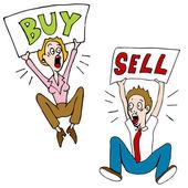Buy Sell Investors — Stock Vector