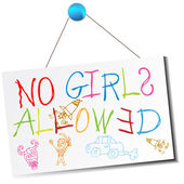 No Girls Allowed Sign — Stock Vector