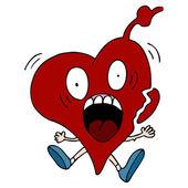 Heart Attack Cartoon Character — Stock Vector