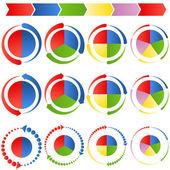 Gráficos de pizza de seta de processo — Vetorial Stock