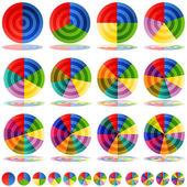 Set di icone di destinazione grafico a torta — Vettoriale Stock
