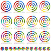 Flecha rueda tabla objetivo conjunto de iconos — Vector de stock