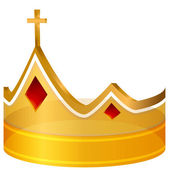 Royal Cross Gold Crown — Vector de stock