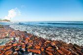 Praia de ontário de lago no inverno — Foto Stock