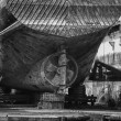 An old ship during hull repair — Stock Photo