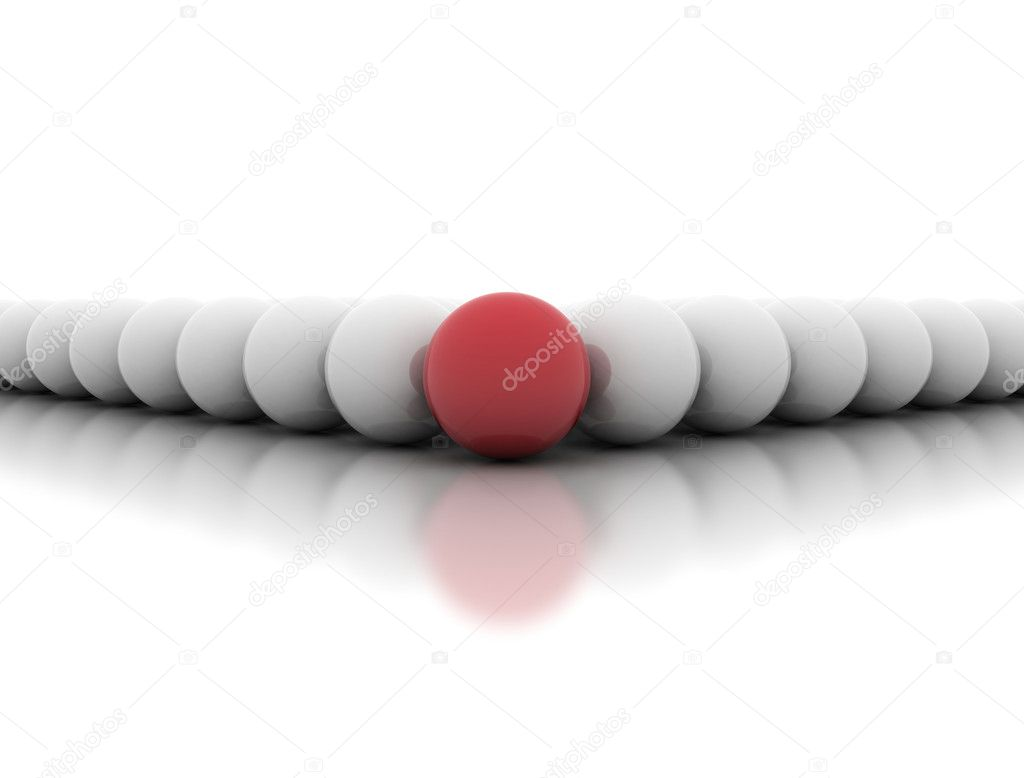 Single red sphere in front - leadership concept  Stock Photo #10720893