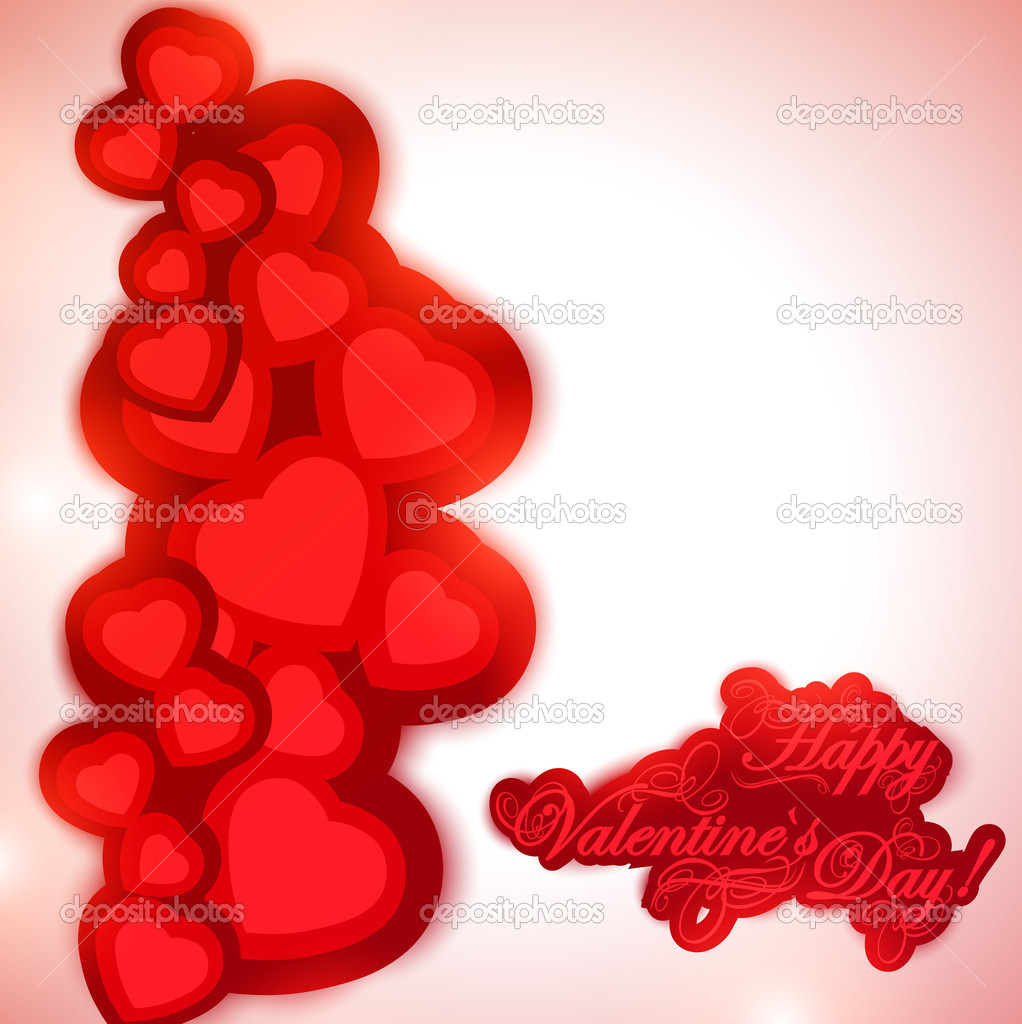 Valentine day background with greetings and hearts — Stock Vector #8744205