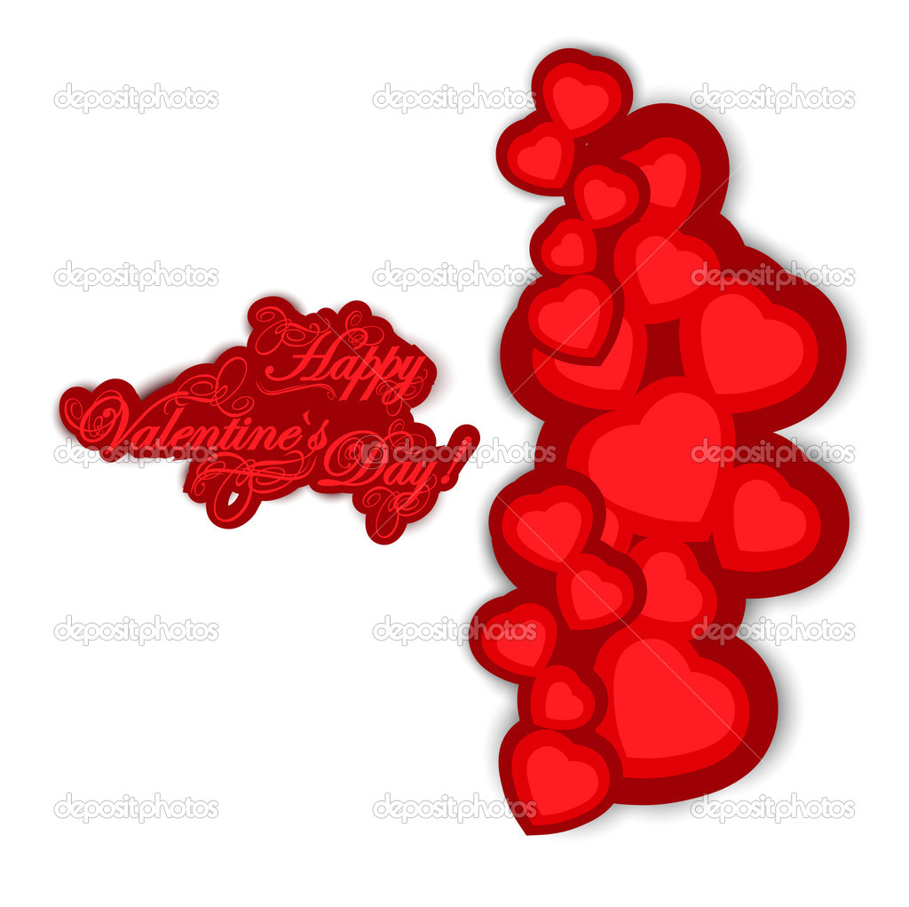 Valentine day greetings and hearts over white — Stock Vector #8744208
