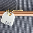 Number combination padlock of luggage - Stock Photo