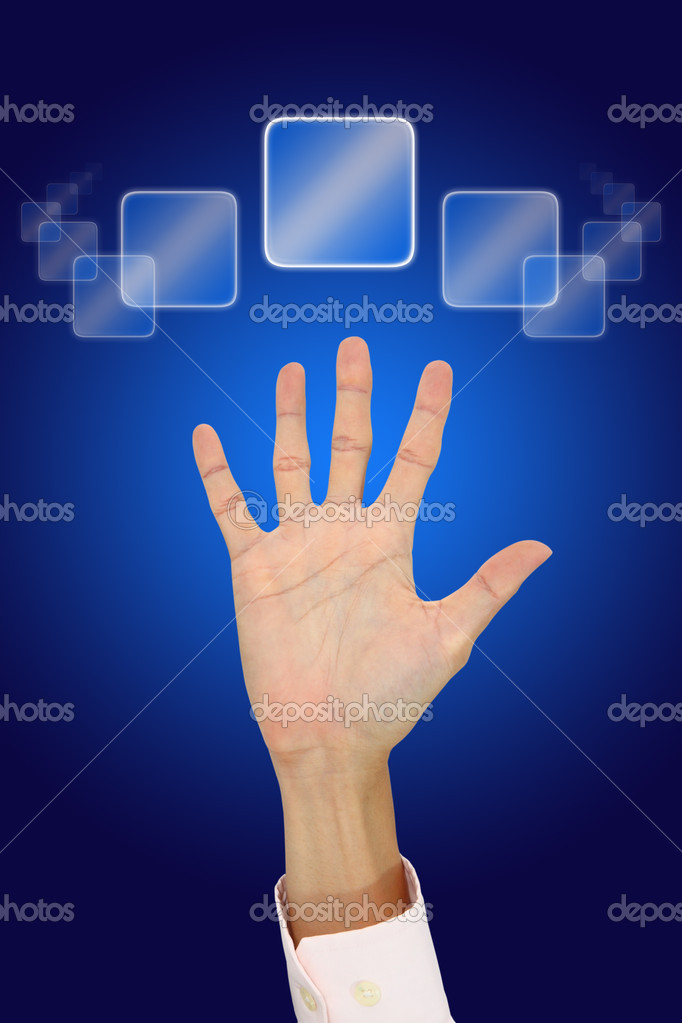 Hand of man calling for help from helpdesk system. — Stock Photo #8134261