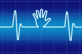 Blue hand help signal oscilloscope — Stock Photo