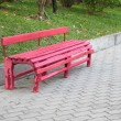 Red bench in public garden. — Stock Photo