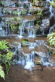 Step of small water fall in public park. — Stock Photo
