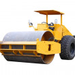Stock Photo: Dirty road roller on white background.