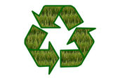 Recycle sign contain green field on white background. — Zdjęcie stockowe