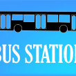Stock Vector: Bus station