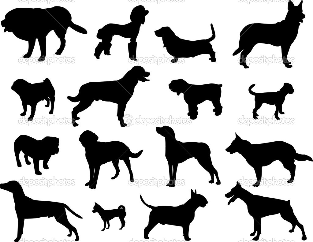 Dogs silhouette - vector — Stock Vector #9936284