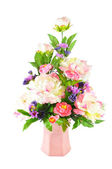 Colorful Artificial Flower Arrangement on white background — Stock Photo
