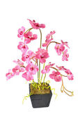 Artificial Flower Arrangement (Pink Vanda in the wood pot) — Stock Photo