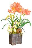 Artificial Orange flower arrangement — Stock Photo