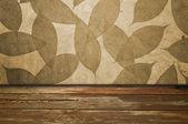 Liść tło i drewniane podłogi — Zdjęcie stockowe