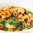 Stir fried chicken with basil (Thai spicy food) — Stock Photo