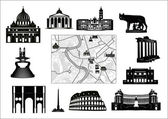 Rome. Black-and-white map and hallmarks — Stock Vector