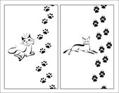 Cat and dog and footsteps — 图库矢量图片