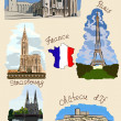 Stock Vector: France sights in watercolor