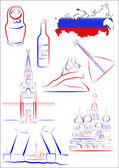 Russia sights and symbols — Stok Vektör