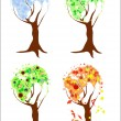 Four seasons world-trees — Stock Vector