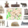 Rome. Map and hallmarks - Stock Vector