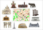 Rome. Map and hallmarks — Stockvector