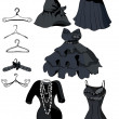 Set of little black dresses and coat racks - Stok Vektör