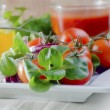Tomato and salad - Stock Photo