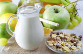 Milk and fruits — Stock Photo