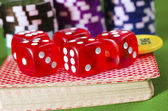 Red cubes for poker — Stock Photo