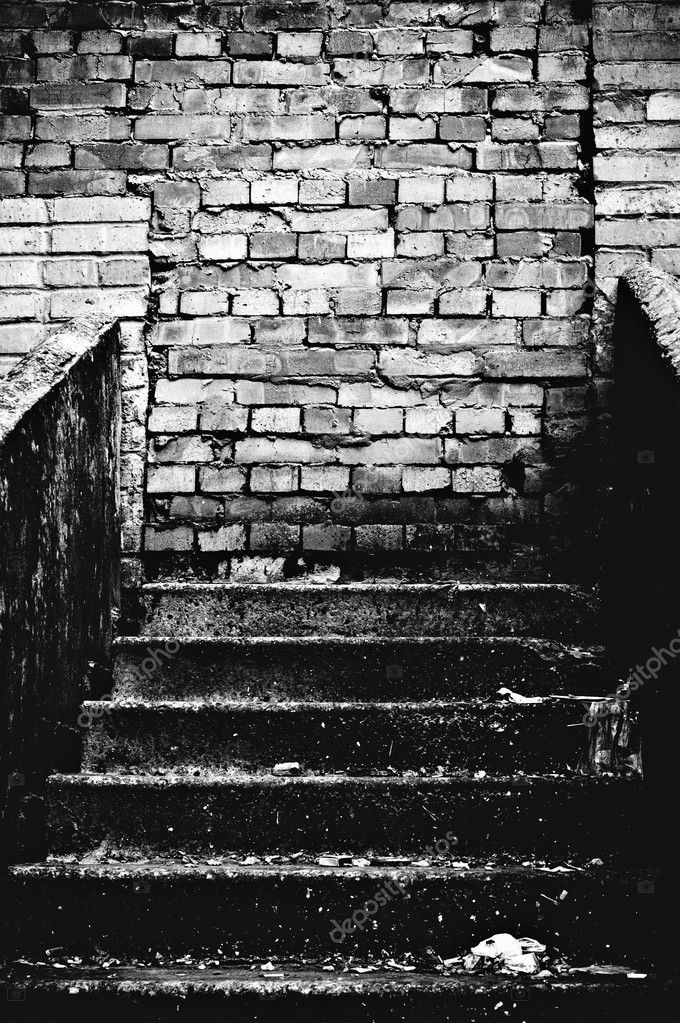 The Strange Staircase Leading Into Brick Wall Black And