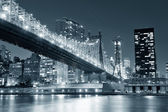 New york city nacht panorama — Stockfoto