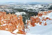 Bryce Canyon with snow in winter. — Stock Photo