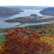 Stock Photo: Autumn Bear Mountain aerial view panorama with Hudson River