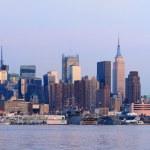 Urban City skyline panorama at dusk — Stock Photo